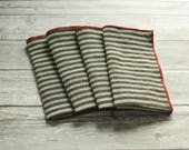 striped napkins brown and cream edged in red orange 100% linen  set of four
