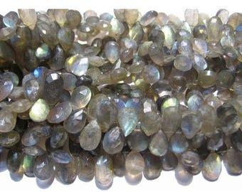 ON SALE 55% Labradorite Beads, Blue Fire Gem Stone, 7x12mm Beads, labradorite Pear Beads, Faceted Stone, 30 Briolettes