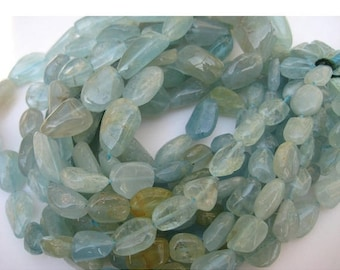 ON SALE 55% Aquamarine Beads - Aquamarine Nugget Beads - Blue Nuggets - 10mm To 15mm Each - 20 Inch Strand, 30 Pieces Approx