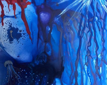 Deep Into The Waters Of The One She Called Love - Original mixed media painting on Yupo paper