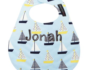 Monogrammed Baby Bib -  Sailboats Bib- Personalized Baby Bib - Baby Shower Gift - Baby Gift  - Nautical Bib - Monogrammed Bib- Sailboat Baby