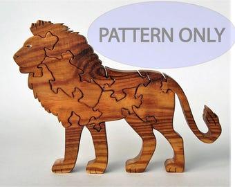 Lion Wooden Puzzle Scrollsaw Pattern PDF Digital Download Woodworking Plan Wood Puzzle Patterns African Wildlife Safari Cat King