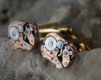 Beautiful Pair of Pink Square Jeweled Steampunk Watch Movement Cuff links CL 65