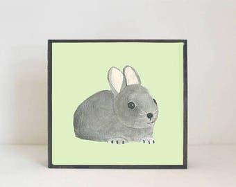 forest animal print, woodland nursery art, rabbit wall art- art block- bunny nursery decor- gender neutral nursery art- redtilestudio