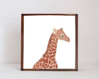 giraffe, zoo animals safari nursery art, jungle nursery art- baby boy, safari jungle nursery decor-  playroom- giraffe  redtilestudio
