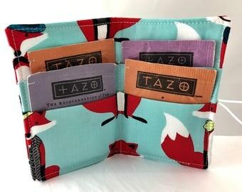 Blue Tea Wallet Tea Bag Wallet - Foxes Tea Bag Case Tea Bag Holder Tea Holder Tea Bag Cozy - Tea Bag Organizer - Dapper Foxes in Aqua