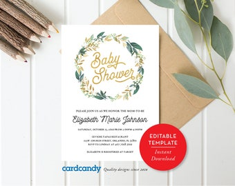 Baby Shower Invitation, Gender Neutral Invite, Boy Baby Shower, Girl Baby Shower, Floral Baby, Editable Template, Download Card pdf -sh03
