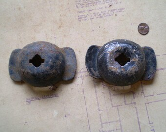 2 Rusty Iron Parts Mounts Bases - Industrial Salvage - Found Objects for Assemblage, Sculpture or Altered Art - Salvaged Supplies