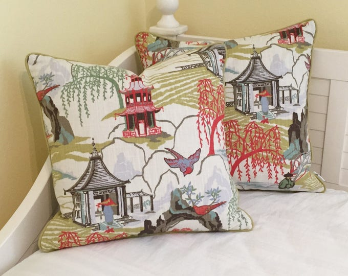 Pair of Robert Allen Neo Toile in Coral Designer Pillow Covers with Piping- Other Piping Colors Available