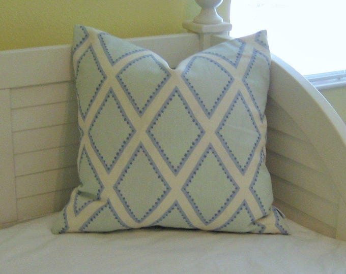 Kravet Brookhaven in Chambray Linen Designer Pillow Cover - Square, Lumbar, Euro and Body Pillow Cover, Designer Fabric,