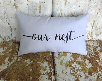 Our Nest Cotton Canvas Believe Burlap Pillow Rustic Country Farm House Throw Accent Pillow Custom Colors Available Home Decor Housewarming