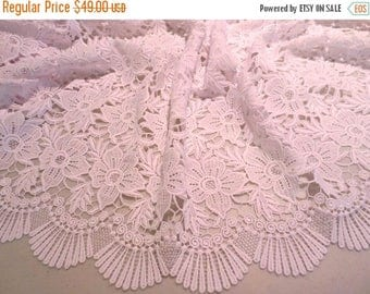ON SALE Stunning Heavy White Guipure Lace Fabric--One Yard