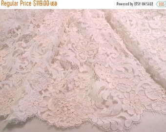 ON SALE Ivory Florentine Design ReEmbroidered French Chantilly Lace Fabric--One Yard