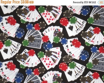 ON SALE Playing Cards and Chips on Black Print Pure Cotton Fabric--By the Yard