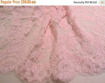 "ON SALE Rosy Pink Delicate Floral Design French Alencon Lace Trim 16"" wide--One Yard"