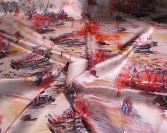 Unique Digital Abstract Fingerpaint  Boating Landscape Scene Print Pure Silk Charmeuse Fabric--By the Yard