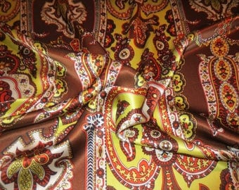 Unique Brown and Yellow Foulard Street Pure Silk Charmeuse Fabric--By the Yard