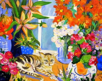 Flower Shop Cat Original Painting canvas art 24 x 36 Large painting by Elaine Cory