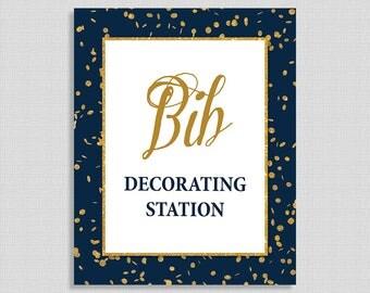Bib Decorating Station Sign, Navy & Gold Glitter Shower Sign, Baby Boy,  INSTANT PRINTABLE