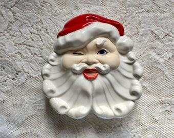 Vintage Santa Dish with Lid - Jamar Mallory Ceramics - Winking Santa Dish - Covered Santa Dish