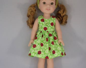 Ladybug and Green Leaf Doll Dress Handmade To Fit 14.5 Inch Dolls Like Wellie Wishers