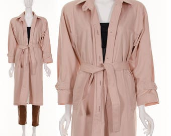 70's Blush Pink Trench Coat LONDON FOG Classic Long Trench Coat Belted Jacket Small Medium