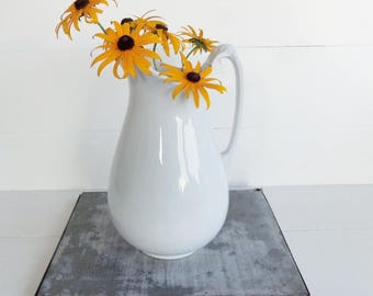 Antique Ironstone  Pitcher, English Ewer, Alfred  Meakin, Farmhouse Style, French Country Decor, Cottage Style