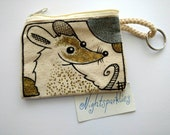hand drawn coin purse, tiny art purse, textile art purse, rat art, fancy rat art, mouse art, money purse, small purse, small storage, gift