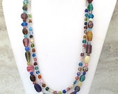 Colorful Glass Necklace, Multistrand Multicolor Necklace, Double Strand Glass Bead Necklace, Long Beaded Boho Necklace for Woman 28in