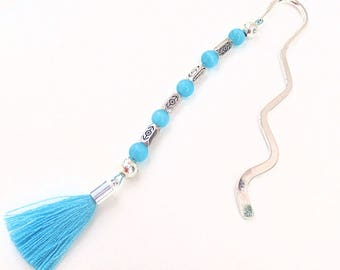 Beaded Bookmark Catseye Tassel Etched Metal Beads Turquoise Blue Silver Gift for Readers Bookworm Librarian Student Teacher Book Club