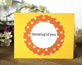 Handmade Note Card, Thinking of You, Dots, Yellow and Orange, Blank Inside, Free US Shipping, Unique, One of a Kind