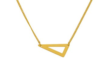 EMBLEME - Minimalist matte gold-plated necklace with simple triangle Arrow