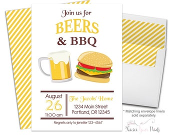Summer BBQ Invitation, Beers and BBQ Invitation, Bbq Party Invitation, Backyard Bbq Invitation, Summer Party Invitation, BBQ Invite