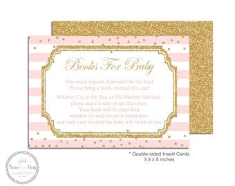 Baby Shower Book Request Insert Cards, Baby Shower Insert Cards, Pink and Gold Baby Shower, Invitation Enclosures, Bring A Book Card