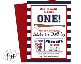 Baseball Birthday Invitation - Baseball Birthday Invite - Baseball Party Invitation - Baseball Party Invite - Little Slugger - Sports Invite