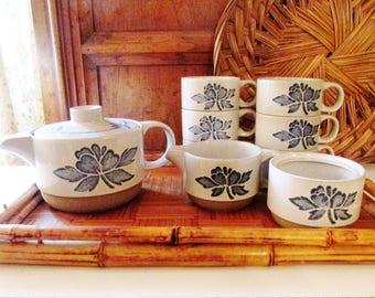 Wedgwood Midwinter English Blue Print Stoneware, Wedgwood Group, Teapot, Cups, Creamer, Sugar Bowl