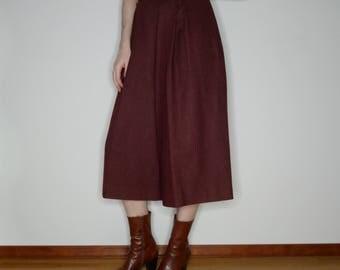 70s vtg wool wide leg high waist capri pants size medium