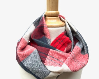 Kids Infinity Scarf - Red and Gray Flannel - Toddler Scarf - Plaid Flannel Scarf - Glad For Plaid Collection