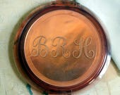 "1940s Ziegfeld Girl Vintage COMPACT Rose Copper Tortoise Monogrammed BRH Collectible Cosmetics Makeup large 5"" Lucite Ziegfeld Follies"