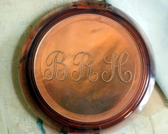 "Ziegfeld Girl Vintage COMPACT Rose Copper Tortoise Monogrammed BRH Collectible Cosmetics Makeup large 5"" Lucite Ziegfeld Follies"