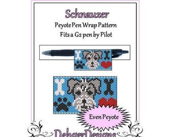 Peyote Beading Pattern (Pen Wrap/Cover)-Schnauzer