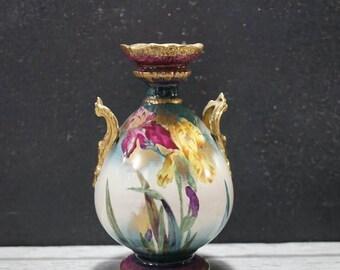 Hand Painted Iris Vase