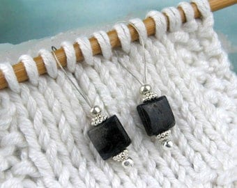Stitch Markers, Knitting, Black Iolite, Semi-Precious Stones, Snag Free, Knitting Tool, Jeweled Tool, Knitting Accessory, Gift for Knitters