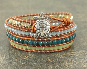 One of a Kind Turtle Bracelet Silver Green Teal Blue Turtle Jewelry Bohemian Quadruple Leather Wrap Bracelet