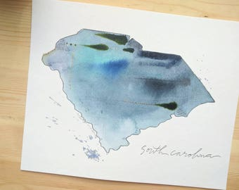 8x10 South Carolina Watercolor State Print
