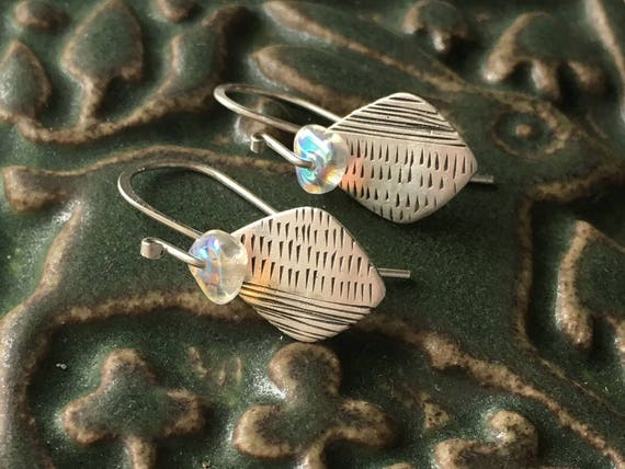 Silver and Glass Earrings, Carved Silver, Wabi Sabi Jewelry, Very Small Earrings