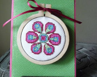 Funky Flower, Hand Stitched Magnet and Card