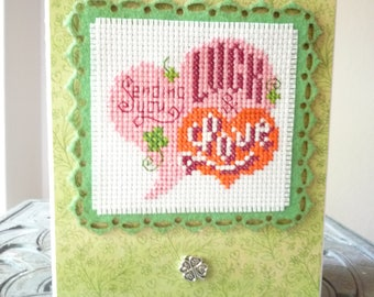 Sending You Luck & Love, Hand Stitched Greeting Card