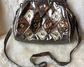 Vintage 1970's Glam Bronze and Gold Metallic Leather & Rhinestone Purse