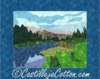 Policeman's Creek Quilt ePattern, 5063-1e, mountian wall quilt pattern, mountain wall quilt, wilderness quilt pattern